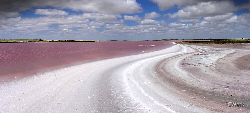 Pink lake panorama by CWerk