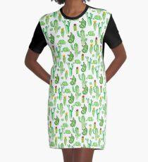 watercolor greenery cactus Graphic T-Shirt Dress