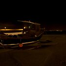 st ives harbour, boat by night by nakomis