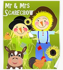 Cute Mr & Mrs  Scarecrow Farm Animal Friends Whimsy Poster