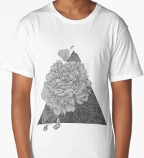 Peony Flowers, Black and White Long T-Shirt