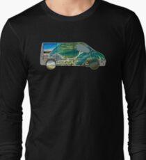 Vanlife (wave truck) - white outline Long Sleeve T-Shirt