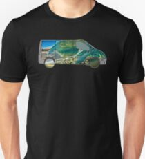 Vanlife (wave truck) - white outline T-Shirt