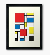 Geometric Grids and Boxes in Bold Colors (Mondrian Style) Framed Print