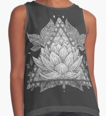 Grey Lotus Flower Geometric Design Contrast Tank