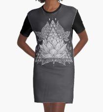 Grey Lotus Flower Geometric Design Graphic T-Shirt Dress