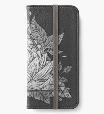 Grey Lotus Flower Geometric Design iPhone Wallet/Case/Skin