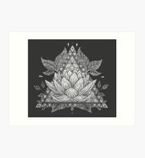 Grey Lotus Flower Geometric Design Art Print