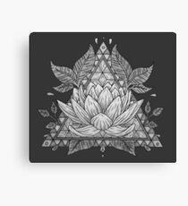 Grey Lotus Flower Geometric Design Canvas Print