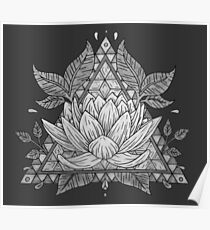 Grey Lotus Flower Geometric Design Poster