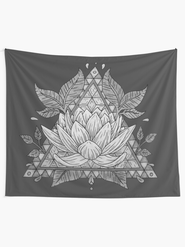 Grey Lotus Flower Geometric Design Wall Tapestry By Bblane Redbubble