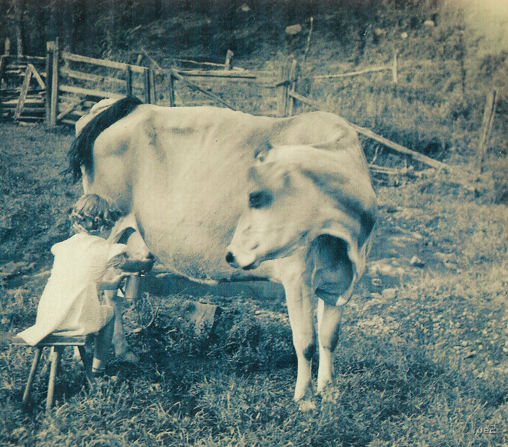 MOM MILKING THE COW by rue2