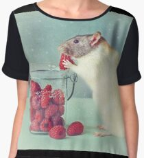 Snoozy always loves his food Women's Chiffon Top