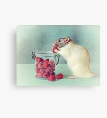 Snoozy always loves his food Canvas Print