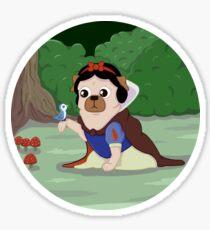 Pug White Sticker