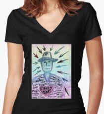 Crazy heart Women's Fitted V-Neck T-Shirt