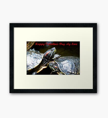 Happy Valentines Day My Love - Turtles NZ Framed Print