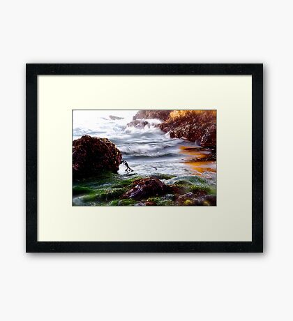 Waves on the Rocks Framed Print