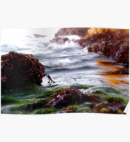 Waves on the Rocks Poster