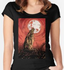 Moon Gazer Hare, Artwork Women's Fitted Scoop T-Shirt