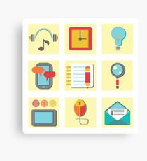 Set of flat icons for web appplication Canvas Print