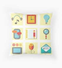 Set of flat icons for web appplication Throw Pillow