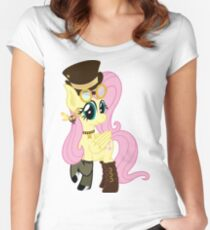 Steampunk Fluttershy (no shadow/background) Women's Fitted Scoop T-Shirt
