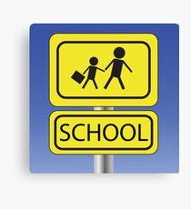 yellow school sign Canvas Print