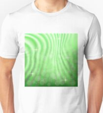 colorful illustration with  abstract green wave background Unisex T-Shirt