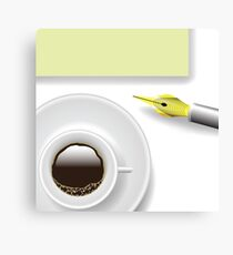 Illustration with cup of coffee on a white background Canvas Print