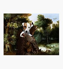 Parson Russell Terrier Art - Forest landscape with a hunter and Noble Lady Photographic Print