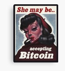 She May Be Accepting Bitcoin Canvas Print