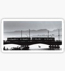 Contrast aerial view of bridge in Zurich, Switzerland Sticker