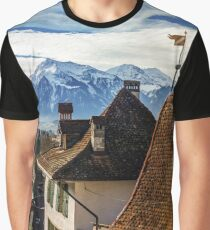 Beautiful panoramic view to the city Thun from the high point of view, blue sky and snowy Alps, Switzerland Graphic T-Shirt