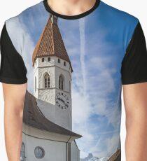 Beautiful white church with high tower  in Thun, Switzerland Graphic T-Shirt