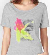 Paint Brush Stroke Beach Flamingo Bird Women's Relaxed Fit T-Shirt
