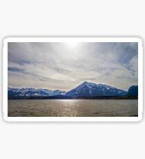 Calm place on Thun lake, Switzerland, springtime, natural landscape Sticker