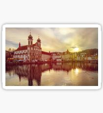Luzern old historic center night view, highlighted buildings and reflections in the water Sticker