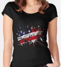 Stars and Sripes Splatter Women's Fitted Scoop T-Shirt