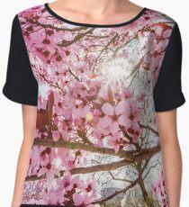 Pink sakura flowering in France, springtime, Obernai Chiffon Top