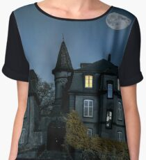 Mysterious abandoned house with full Lune on night sky, infrared view Chiffon Top