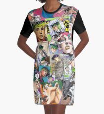 JJBA - Rohan Kishibe - Collage Graphic T-Shirt Dress