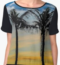 Palm Trees against Sunset Sky Chiffon Top