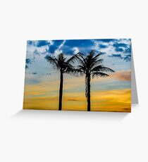 Palm Trees against Sunset Sky Greeting Card