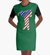 USA Mens Golf - Male Golfer Graphic T-Shirt Dress