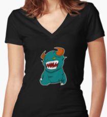 Coloured Cartoon Monster Women's Fitted V-Neck T-Shirt