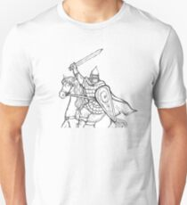 warrior with sword in armor and helmet on horse T-Shirt