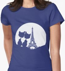Moon Love Cats Paris Womens Fitted T-Shirt