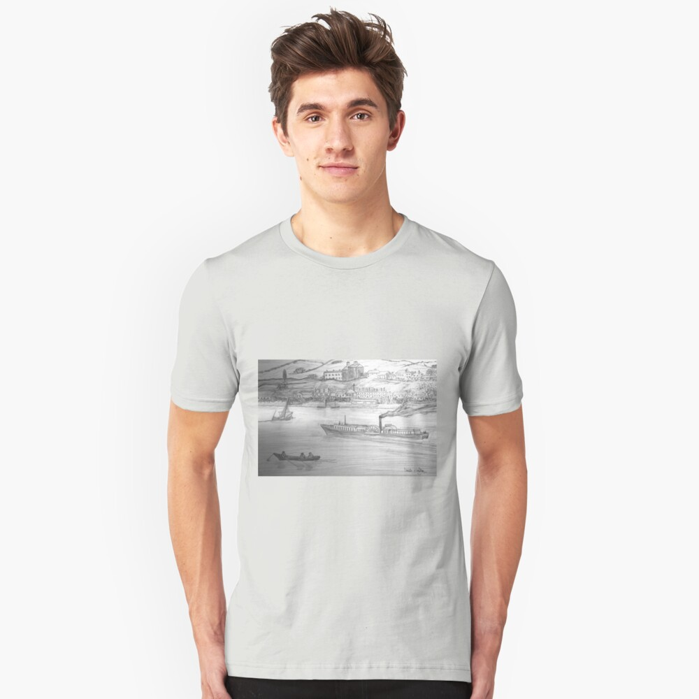 My Pencil Drawing of a Paddle Steamer on the Danube Unisex T-Shirt Front