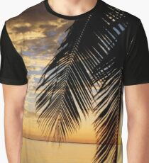 TROPICAL SUNSET THROUGH COCONUT PALM FRONDS Graphic T-Shirt